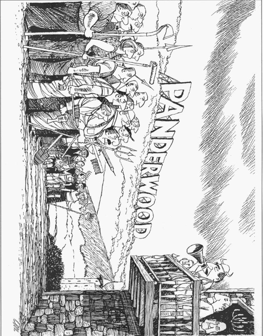 freevoice publishing Handicap Tables illustration goes here above crowd scene at panderwood